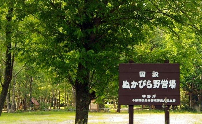 ぬかびら湖野営場の看板と森