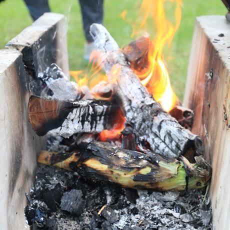 とうもろこしを炭火で焼く様子