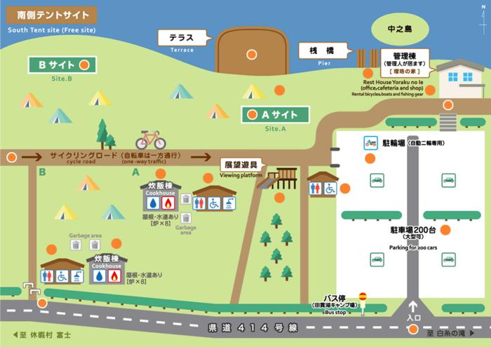 田貫湖キャンプ場のキャンプ場マップ