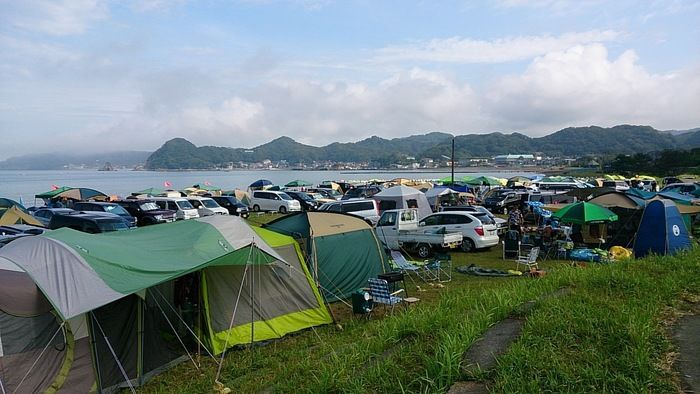 多々良北海岸キャンプ場でのキャンプの様子
