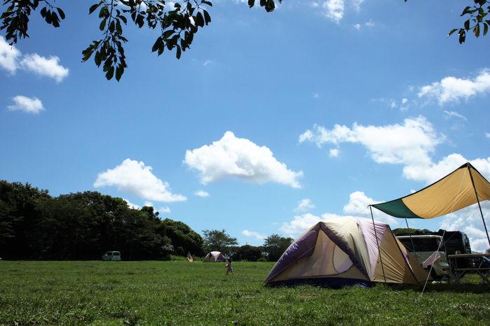 成田ゆめ牧場ファミリーオートキャンプ場でのキャンプの様子