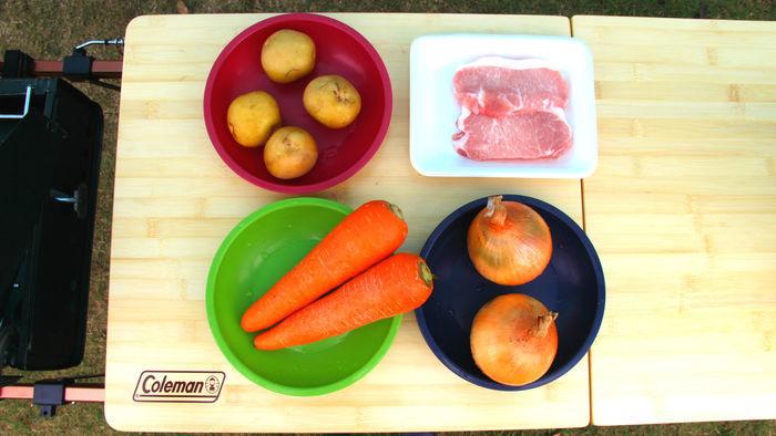 彩り野菜のローストポークの材料