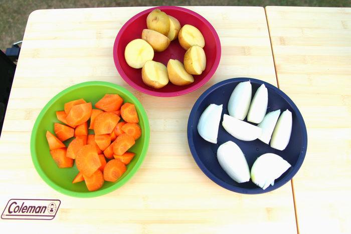 カットされた材料の野菜