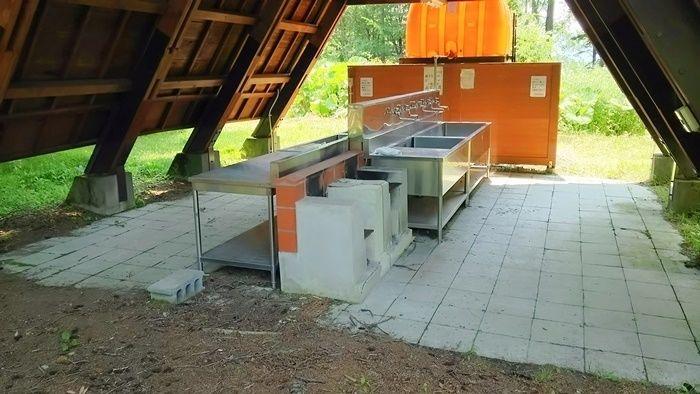 然別湖北岸野営場の炊事場