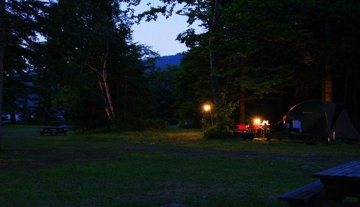 然別湖北岸野営場の夜の様子