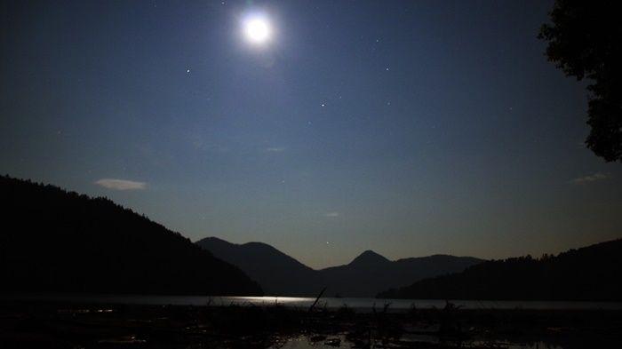 夜間の然別湖