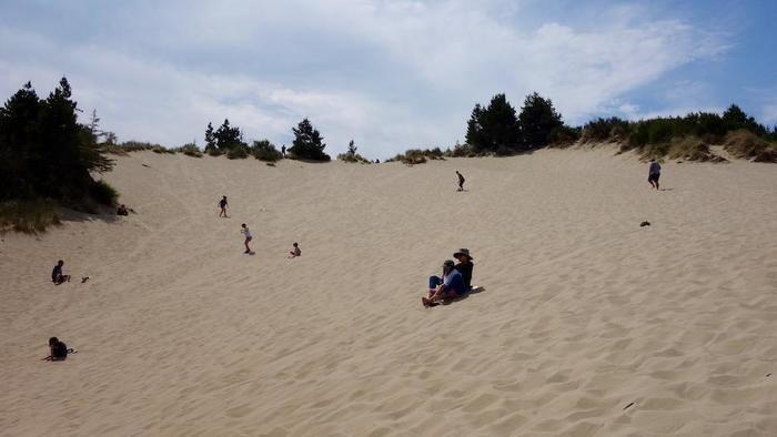 砂丘でサンドボードなどを楽しむ人々