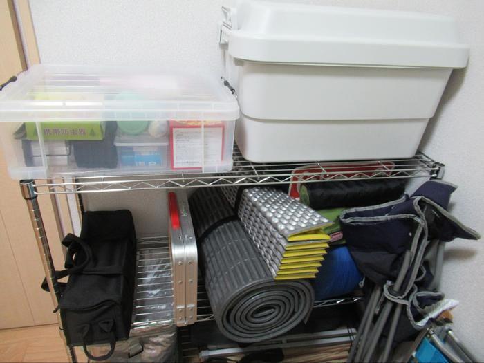 自宅に保管されたキャンプ道具