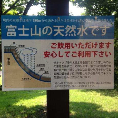水道から出てくる富士山の天然水の案内