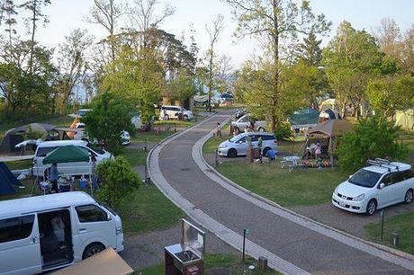 休暇村越前三国オートキャンプ場の賑わうサイトの様子