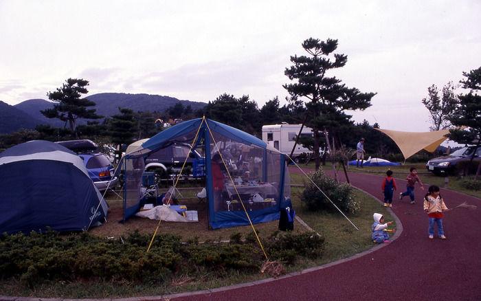 だるま山キャンプ場で遊ぶ子供達