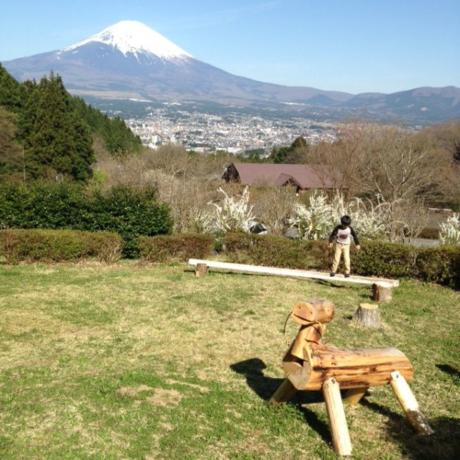 遊び場から見える富士山の景色