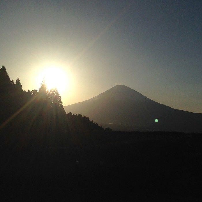 日没の様子と富士山