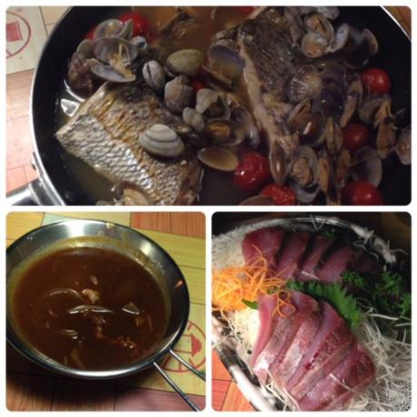 夕食のアクアパッツァとビーフシチューとお刺身