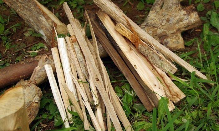 トゥイグ作りにされた薪