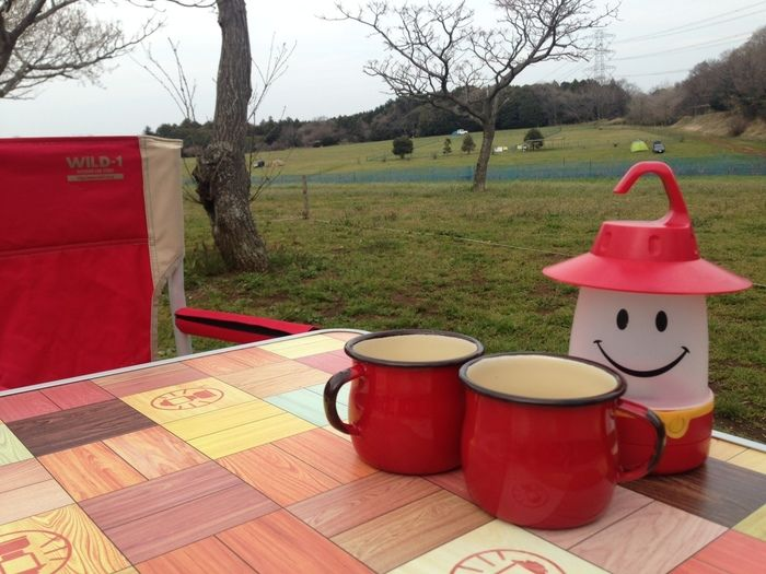 キャンプテーブルに並べられたマグカップ