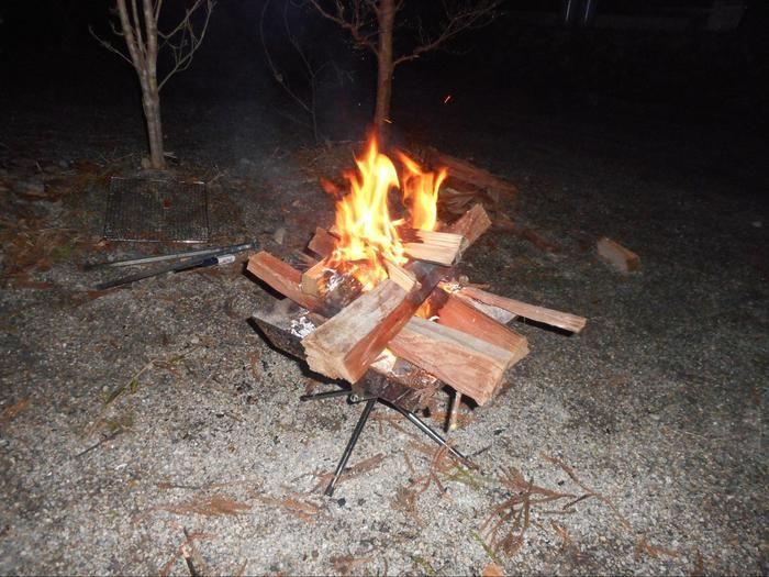割った薪で焚き火をしている様子