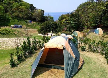 竹野海岸キャンプ場でのキャンプの様子