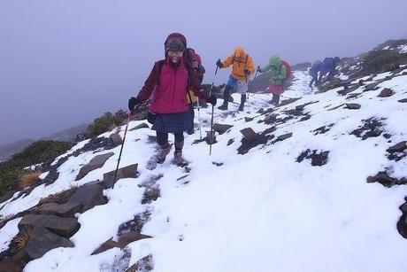 雪山を歩く人々