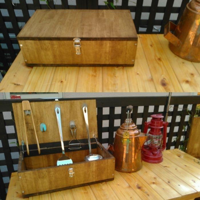 調理器具BOXを開く前と後の比較