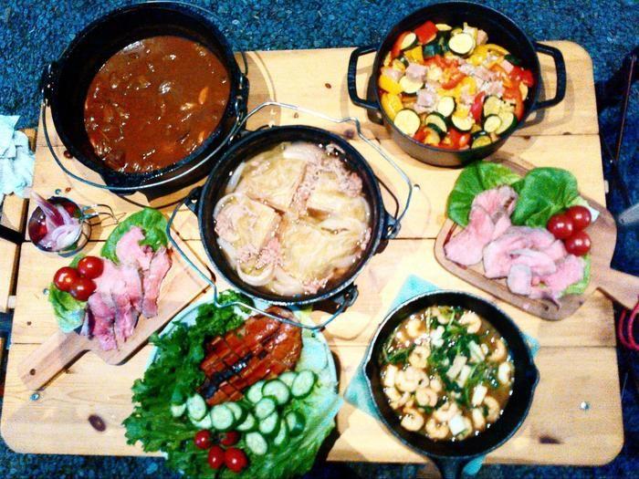 キャンプで作ったたくさんの料理