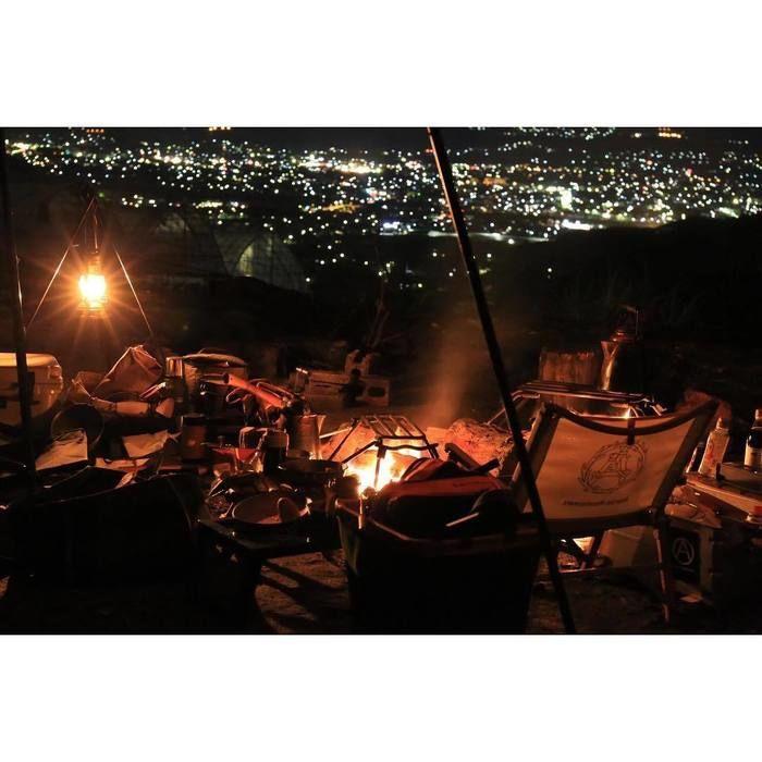 夜景と焚き火