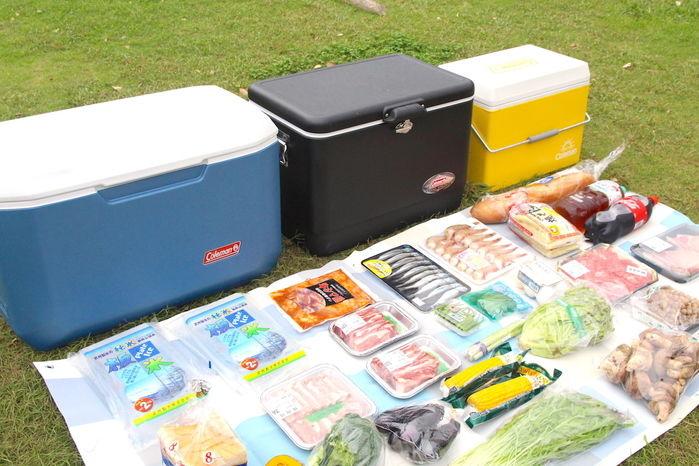 3つのクーラーボックスとその前に並べられた食材を斜め上から撮った様子