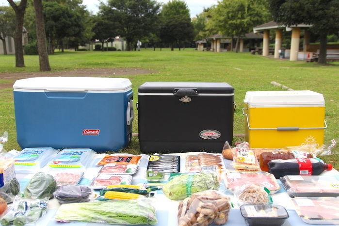 3つのクーラーボックスとその前に並べられた食材のアップ