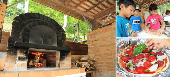 山伏オートキャンプ場でピザを作る子供達