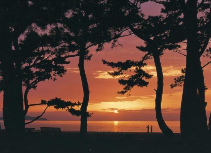 慶野松原海水浴場と夕日
