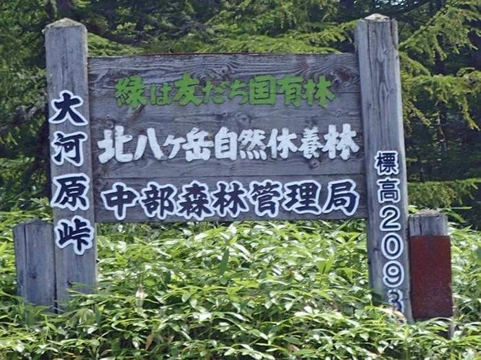 北八ヶ岳自然休養林中部森林管理局の看板