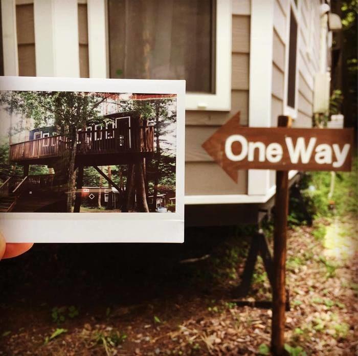 OneWayの看板とその矢印の先に合わせてツリーハウスの写真を持って撮った写真