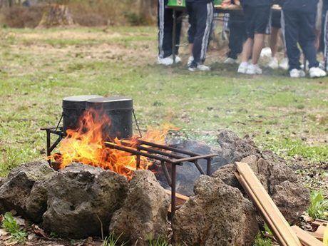 神鍋高原キャンプ場での炊事の様子