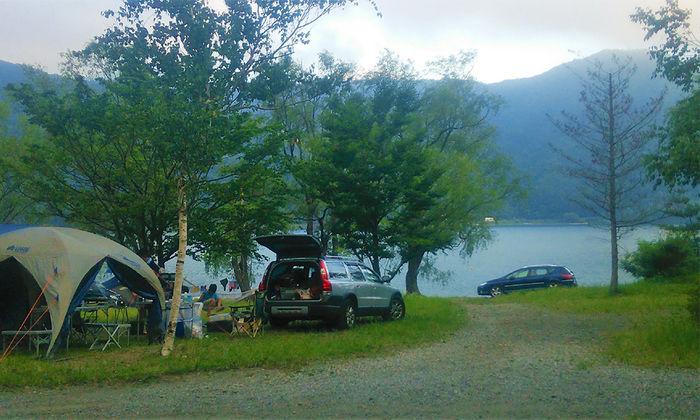 西湖キャンプビレッジノームでのキャンプの様子