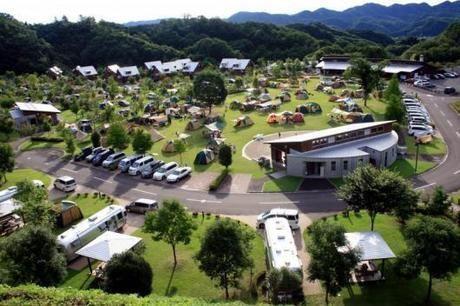 上空からの大子広域公園オートキャンプ場の眺め