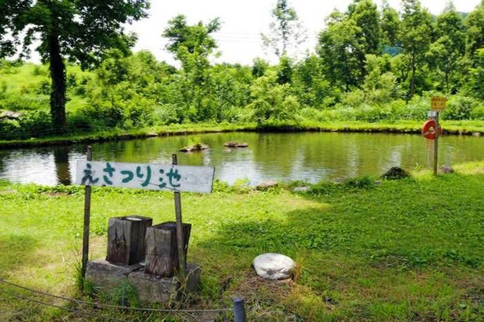 無印良品津南キャンプ場のえさ釣り池