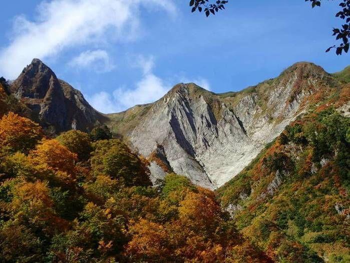 紅葉と岩山の風景