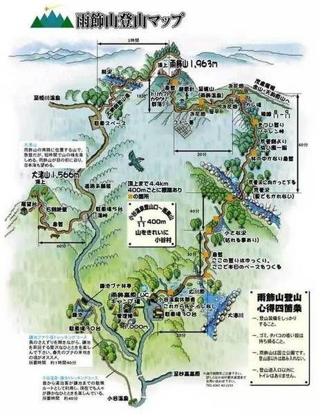 雨飾山の登山マップ