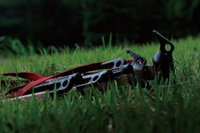 芝の上に置いてあるペグ