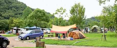 しあわせの村オートキャンプ場でのキャンプの様子