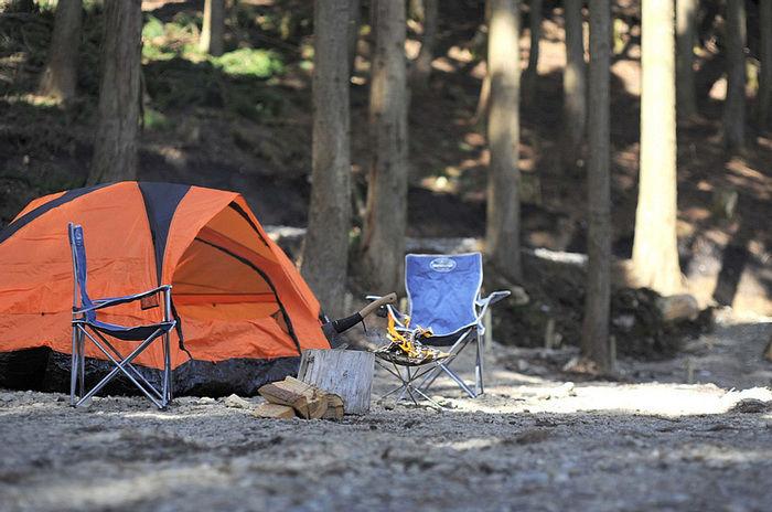 若杉おおやキャンプ場でのキャンプの様子