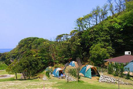 休暇村竹野海岸コウノトリキャンプ場でのキャンプの様子