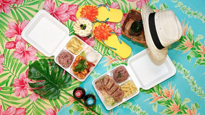 ハワイアンのプレートランチでのピクニック