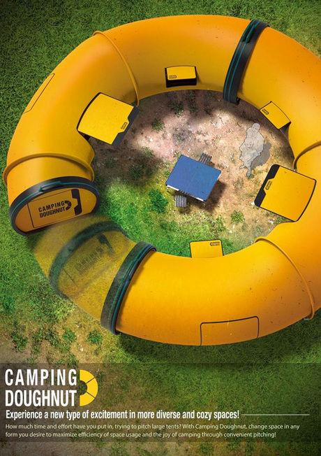 形が変わるドーナツ状のテント