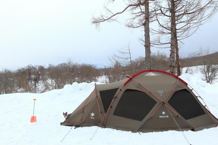 雪上に設置されたスノーピークのテント