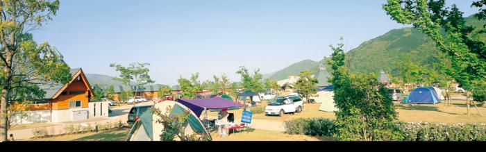 四国三郎の郷のキャンプ場の様子