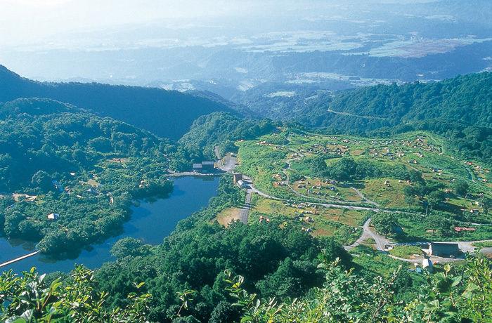 津南キャンプ場の空撮写真