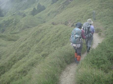 ハイキングロードを列になって歩く2人の女性