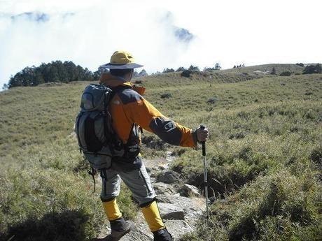 ハイキングロードに佇む男性
