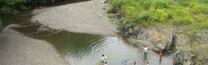 大見いこいの広場 川で遊ぶ子供達